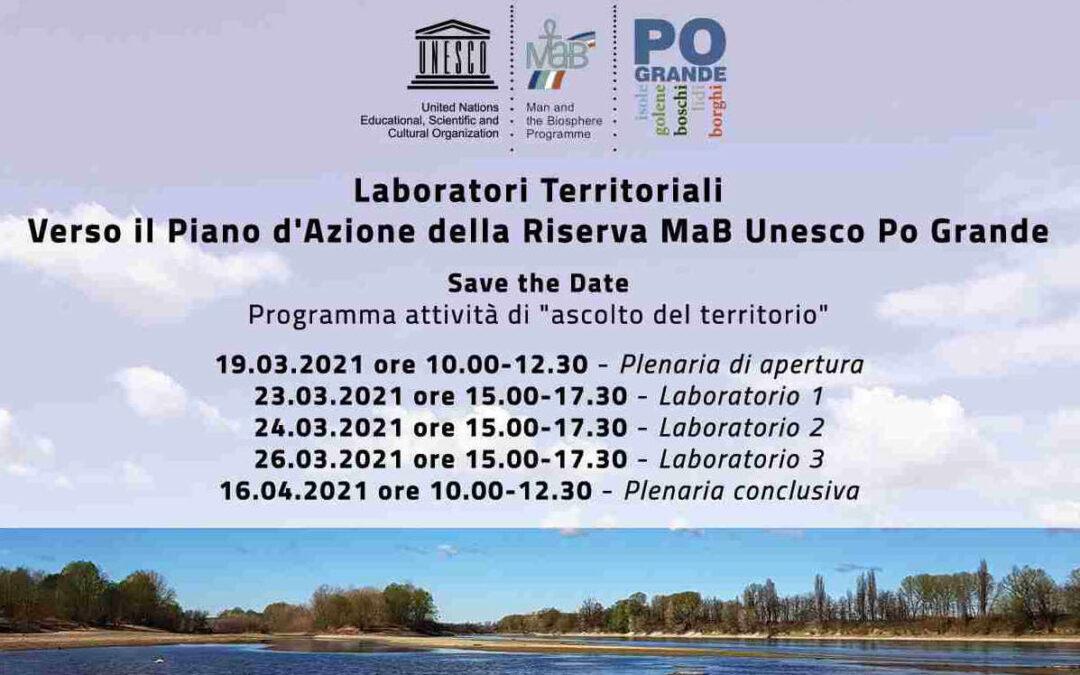 Save the Date 19 marzo 2021- Laboratori Territoriali Riserva MaB Unesco Po Grande